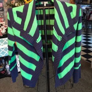 Navy and green striped cardigan